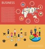 Biznesowy infographic z ludźmi i wykresami ilustracji