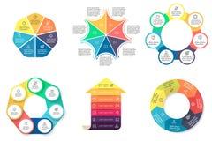 Biznesowy Infographics Diagramy z 7 krokami Obrazy Royalty Free