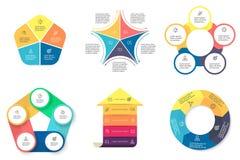 Biznesowy Infographics Diagramy z 5 krokami Obraz Royalty Free