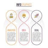 Biznesowy Infographics Linia czasu z 3 częściami rabatowy bobek opuszczać dębowego faborków szablonu wektor Obrazy Stock