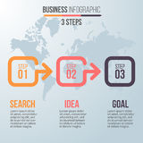 Biznesowy Infographics Linia czasu z 3 krokami Obraz Royalty Free