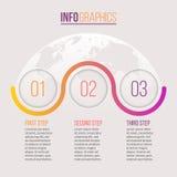 Biznesowy Infographics Linia czasu z 3 krokami, okręgi rabatowy bobek opuszczać dębowego faborków szablonu wektor Fotografia Royalty Free