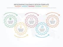 Biznesowy Infographics Linia czasu z 5 krokami, przekładnie, cogwheels Zdjęcia Royalty Free