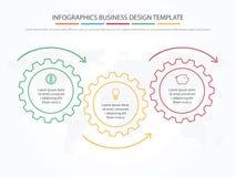 Biznesowy Infographics Linia czasu z 3 krokami, przekładnie, cogwheels royalty ilustracja