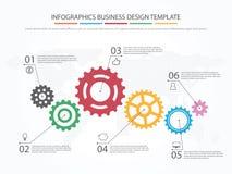 Biznesowy Infographics Linia czasu z 6 krokami, przekładnie, cogwheels Obrazy Royalty Free