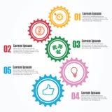 Biznesowy Infographics Linia czasu z 5 krokami, przekładnie, cogwheels Obrazy Royalty Free