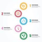 Biznesowy Infographics Linia czasu z 5 krokami, przekładnie, cogwheels Fotografia Royalty Free