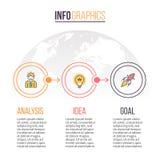 Biznesowy Infographics Linia czasu z 3 krokami rabatowy bobek opuszczać dębowego faborków szablonu wektor Zdjęcia Royalty Free