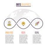 Biznesowy Infographics Linia czasu z 3 krokami rabatowy bobek opuszczać dębowego faborków szablonu wektor Fotografia Royalty Free