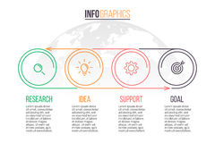 Biznesowy Infographics Linia czasu z 4 krokami rabatowy bobek opuszczać dębowego faborków szablonu wektor Zdjęcie Royalty Free