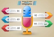 Biznesowy Infographics Mikrofon ikona Zdjęcie Royalty Free