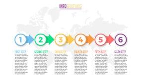 Biznesowy Infographics Prezentaci obruszenie, mapa, diagram z 6 krokami, okręgi Fotografia Stock