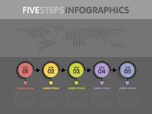 Biznesowy infographics szablon Linia czasu z 5 okrąg strzała krokami, pięć numerowych opcj Światowa mapa w tle Wektorowy element Fotografia Royalty Free