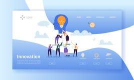 Biznesowy innowaci lądowania strony szablon Kreatywnie pomysł strony internetowej układ z Płaskimi ludźmi charakterów i żarówka royalty ilustracja