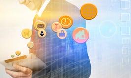 Biznesowy interfejs z wykresami i dane przeciw biznesmena usin obrazy royalty free