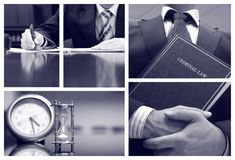 Biznesowy kolaż, prawa karnego pojęcie fotografia stock