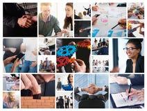 Biznesowy kolaż z sceną biznesowa osoba przy pracą zdjęcia royalty free