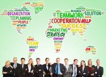 Biznesowy konsultować drużyna z światową mapą zdjęcie stock