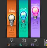 Biznesowy lightbulb pojęcie kroczy myślącego pomysł Zdjęcia Royalty Free