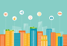 Biznesowy mądrze miasto kabel tła związku internetu głęboka wtyczka blue socjalny Fotografia Stock