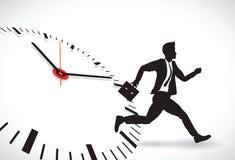Biznesowy mężczyzna bije zegar royalty ilustracja