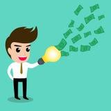 Biznesowy mężczyzna dostaje pomysł od jego lightbulb ołówka Obraz Stock