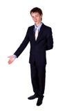Biznesowy mężczyzna gestykuluje w studiu Fotografia Royalty Free