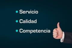 Biznesowy mężczyzna, kciuka ub, usługa, ilość, kompetencja obrazy stock