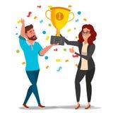 Biznesowy mężczyzna, kobiety osiągnięcia pojęcia wektor Najlepszy pracownicy Świętuje sukces doścignięcie Zarządzanie celu zwycię ilustracji
