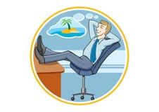 Biznesowy mężczyzna marzy o jego wakacjach Zdjęcia Royalty Free