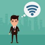 Biznesowy mężczyzna patrzeje dla połączenie z internetem wspierać jego biznes Zdjęcie Royalty Free