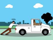 Biznesowy mężczyzna pcha jego łamaną furgonetkę ilustracja wektor