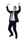 Biznesowy mężczyzna pcha up coś Fotografia Royalty Free