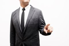Biznesowy mężczyzna pokazuje rękę i palec Fotografia Stock