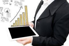 Biznesowy mężczyzna pokazuje rękę i palec z ręki writing biznesem Zdjęcia Stock