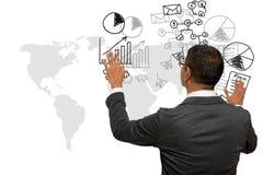 Biznesowy mężczyzna pokazuje rękę i palec z ręki writing biznesem Zdjęcie Royalty Free