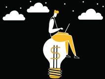 Biznesowy mężczyzna pracuje na pomysł żarówce ilustracji