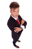 Biznesowy mężczyzna przyglądający przy tobą up zdjęcie royalty free