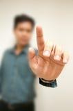 Biznesowy mężczyzna ręki dotyk Zdjęcie Stock