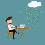 Biznesowy mężczyzna relaksować i bezwolnego dochodu pojęcie Obraz Royalty Free