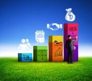 Biznesowy mężczyzna rysuje biznesowego zysk Obrazy Stock