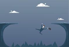 Biznesowy mężczyzna Spada W falezy Gap biznesmena Fail kryzysu Upadłościowym pojęciu ilustracja wektor