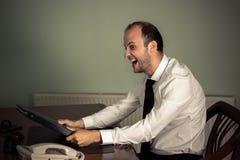 Biznesowy mężczyzna szalony z pracą Obraz Royalty Free