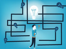 Biznesowy mężczyzna szuka dobrego pomysł w labityntu wektoru ilustraci Obrazy Stock