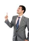 Biznesowy mężczyzna target674_0_ przy pustą przestrzenią fotografia royalty free