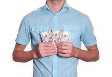 Biznesowy mężczyzna trzyma udział pieniądze Fotografia Royalty Free