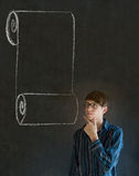 Mężczyzna, uczeń lub nauczyciel z menu ślimacznicy listą kontrolną, Fotografia Stock