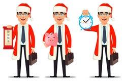 Biznesowy mężczyzna w Święty Mikołaj kostiumu ilustracja wektor