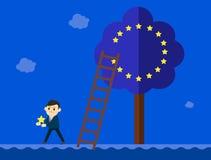Biznesowy mężczyzna w kostiumu iść out od Europejskiego zjednoczenia drzewa royalty ilustracja