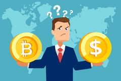 Biznesowy mężczyzna wprawiać w zakłopotanie z walutą royalty ilustracja